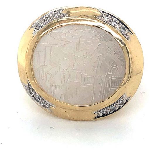 Yellow Gold Carved Mother Of Pearl Ring 2
