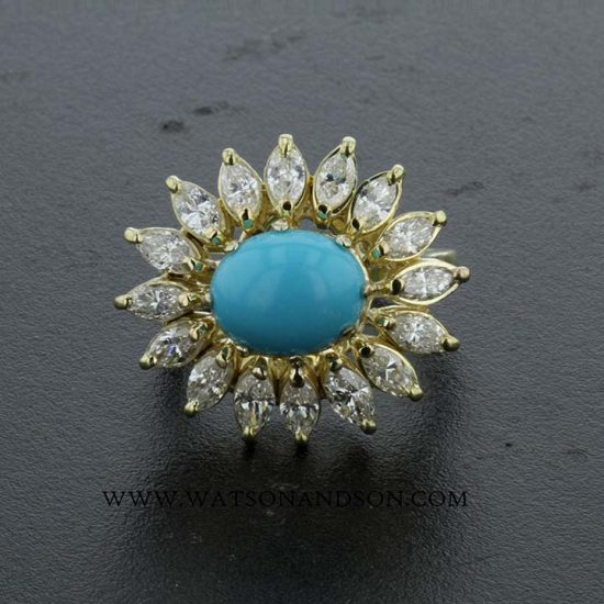 Turquoise And Diamond Flower Ring 1