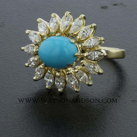 Turquoise And Diamond Flower Ring 3