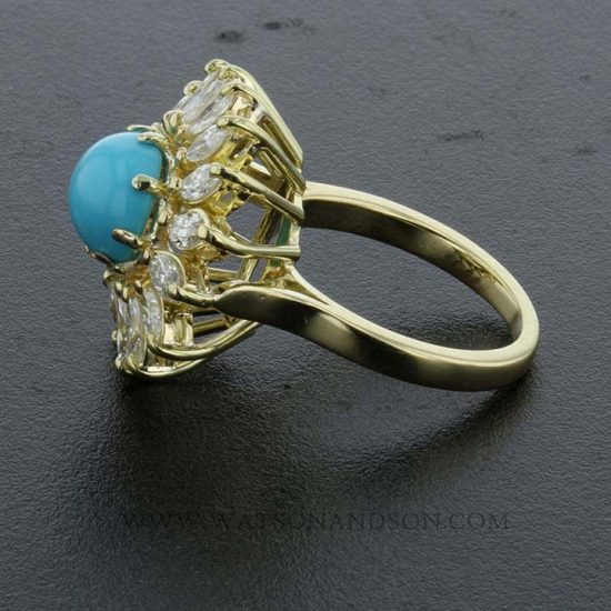 Turquoise And Diamond Flower Ring 4