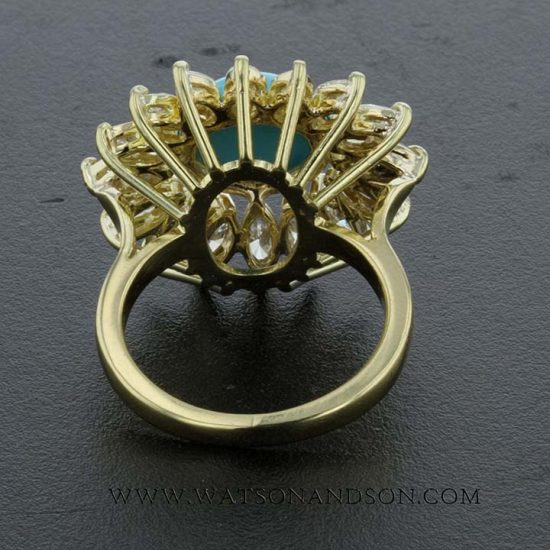 Turquoise And Diamond Flower Ring 5