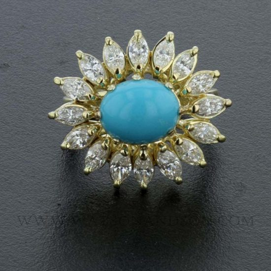 Turquoise And Diamond Flower Ring 2