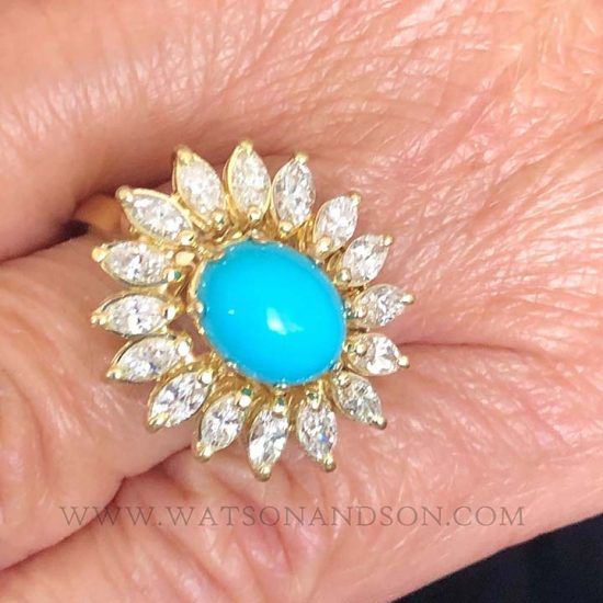 Turquoise And Diamond Flower Ring 6
