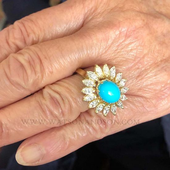 Turquoise And Diamond Flower Ring 7