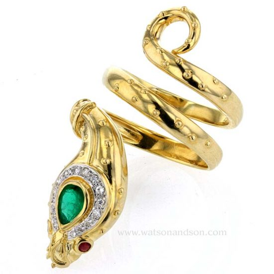Yellow Gold And Emerald Snake Ring 4