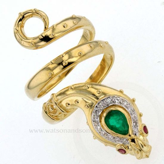 Yellow Gold And Emerald Snake Ring 5