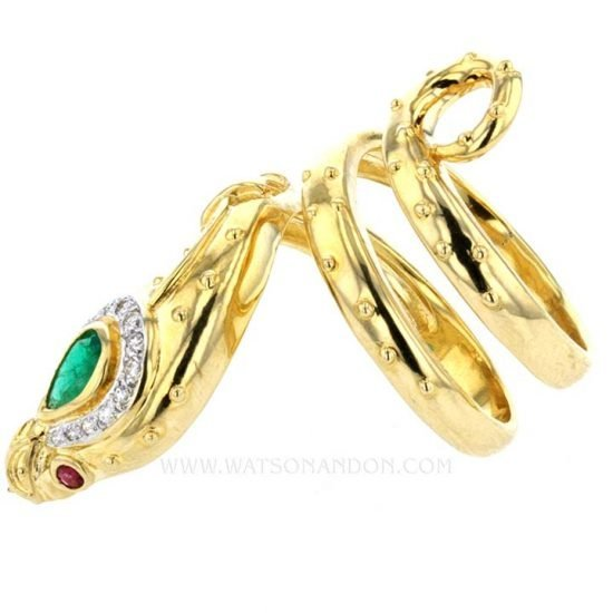 Yellow Gold And Emerald Snake Ring 6