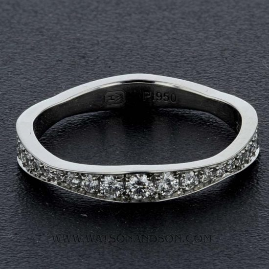 Platinum Harry Winston Wave Diamond Wedding Band 1