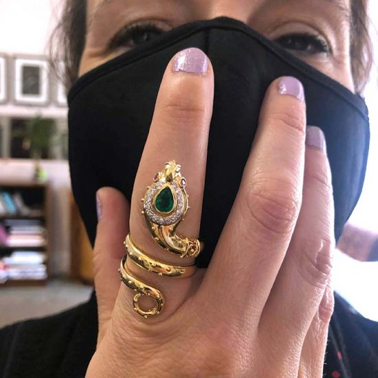 Yellow Gold And Emerald Snake Ring 7