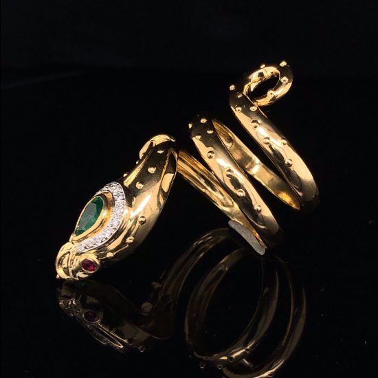 Yellow Gold And Emerald Snake Ring 2