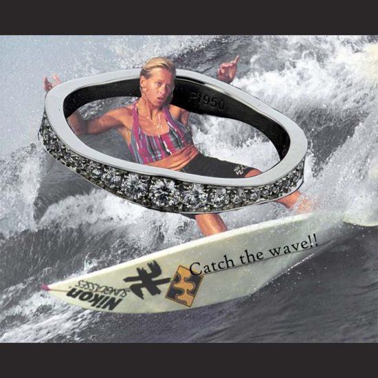Platinum Harry Winston Wave Diamond Wedding Band 3