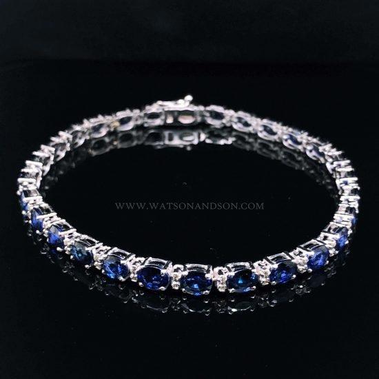 Sapphire And Diamond Straight Line Bracelet 1