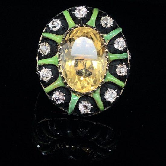 Green Enamel &Amp; Citrine Ring 2