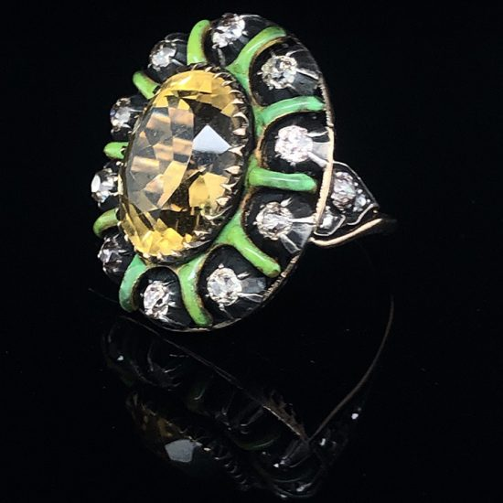 Green Enamel &Amp; Citrine Ring 3