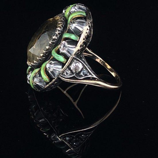 Green Enamel &Amp; Citrine Ring 4