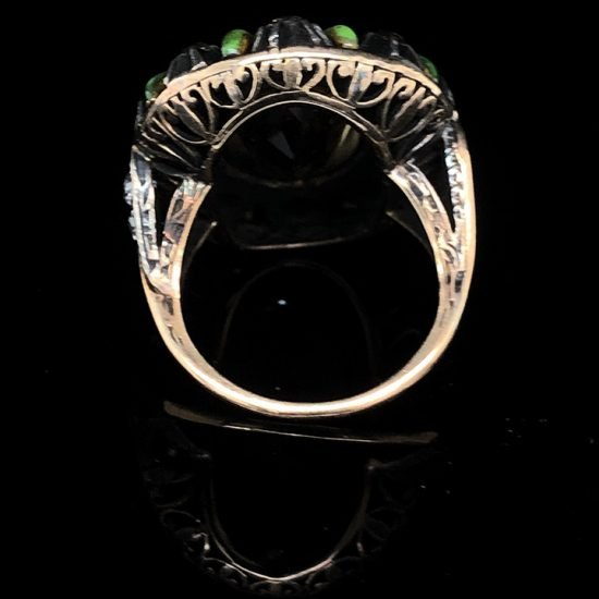 Green Enamel &Amp; Citrine Ring 5