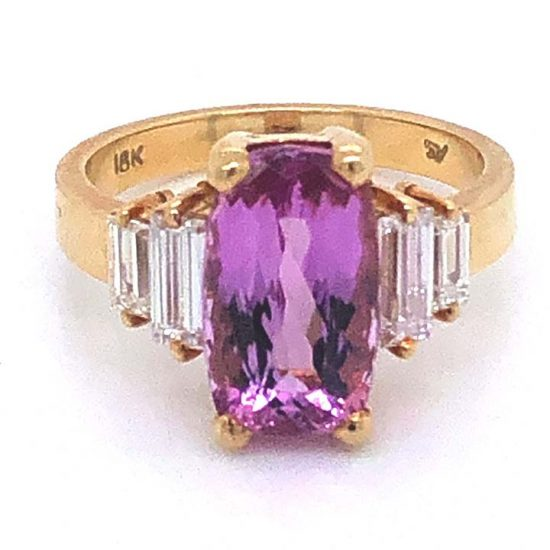 Yellow Gold Pink Tourmaline And Diamond Solitaire Ring 6