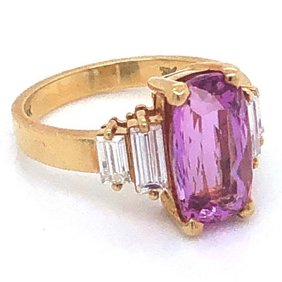 Yellow Gold Pink Tourmaline And Diamond Solitaire Ring 5