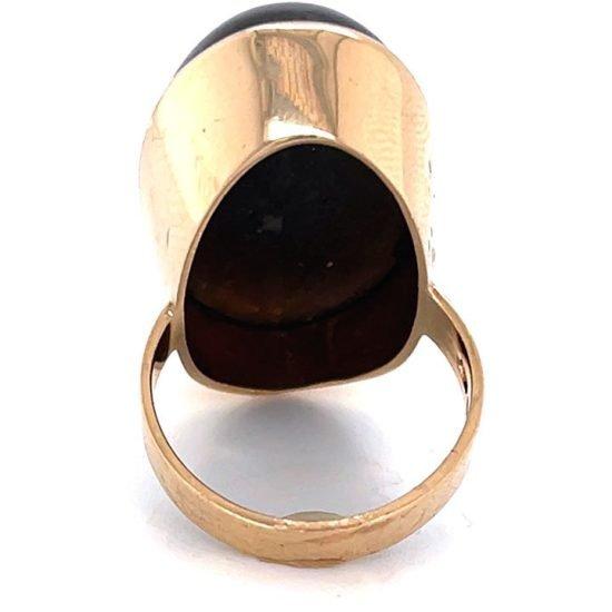 Bold Yellow Gold Labradorite Dome Ring 4