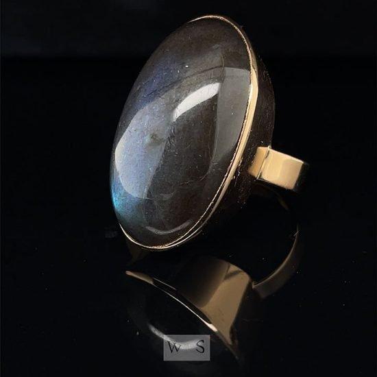 Bold Yellow Gold Labradorite Dome Ring 5