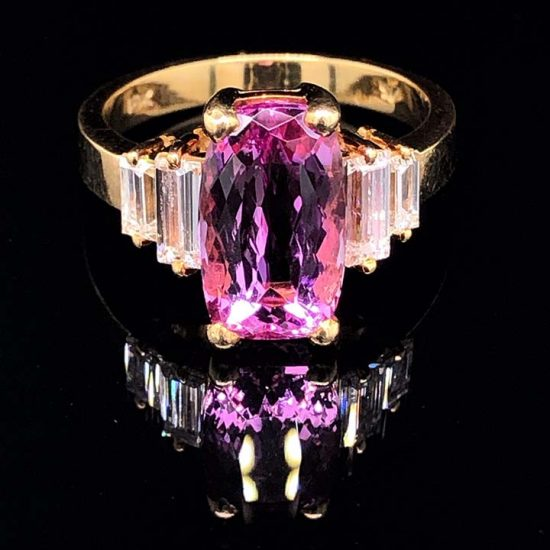 Yellow Gold Pink Tourmaline And Diamond Solitaire Ring 1