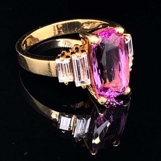 Yellow Gold Pink Tourmaline And Diamond Solitaire Ring 3