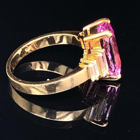 Yellow Gold Pink Tourmaline And Diamond Solitaire Ring 2