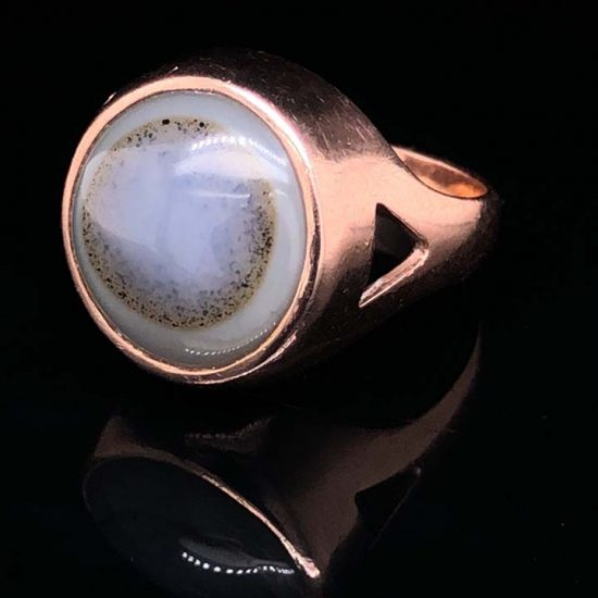 Pink Gold Bulls Eye Agate Ring 1
