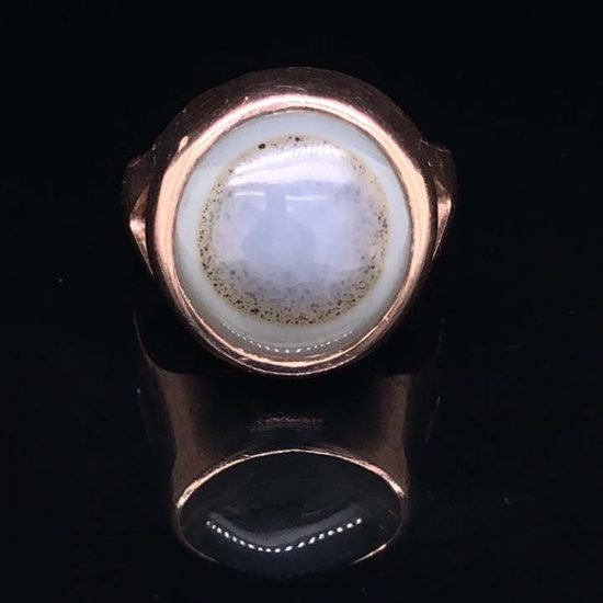 Pink Gold Bulls Eye Agate Ring 4