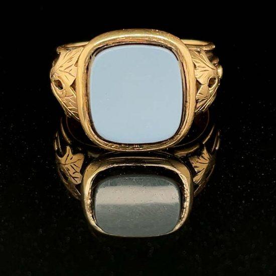 Sardonyx Yellow Gold signet Ring 2