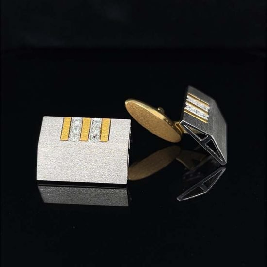 Two Tone Gold and Diamond Cuff Links 1