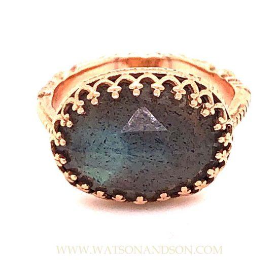 Becky Kelsol Rose Gold Labradorite Ring 1