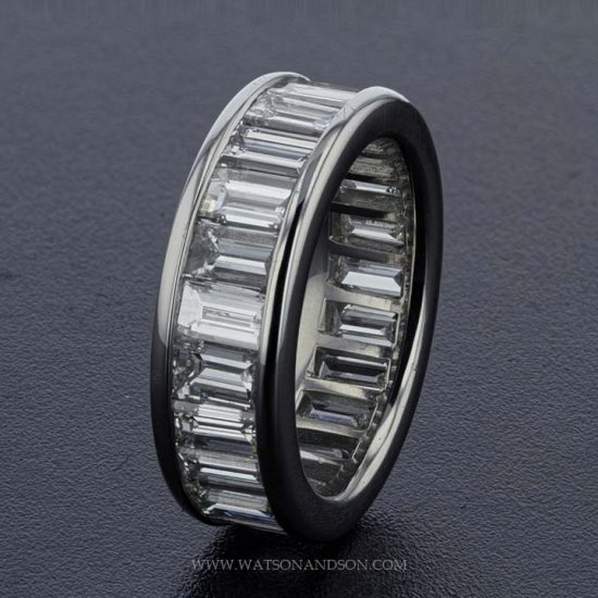 Platinum Side By Side Baguette Diamond Band 1