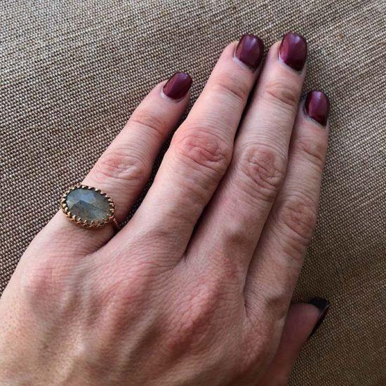 Becky Kelsol Rose Gold Labradorite Ring 2