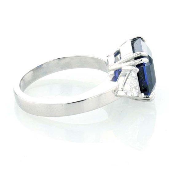 Asscher Cut Sapphire And Diamond Solitaire Ring 4