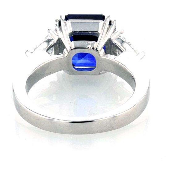 Asscher Cut Sapphire And Diamond Solitaire Ring 5
