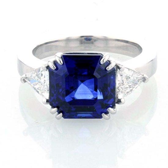 Asscher Cut Sapphire And Diamond Solitaire Ring 6