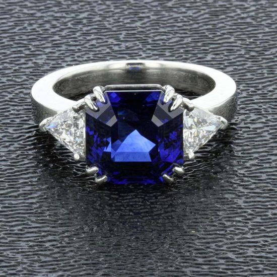Asscher Cut Sapphire And Diamond Solitaire Ring 1