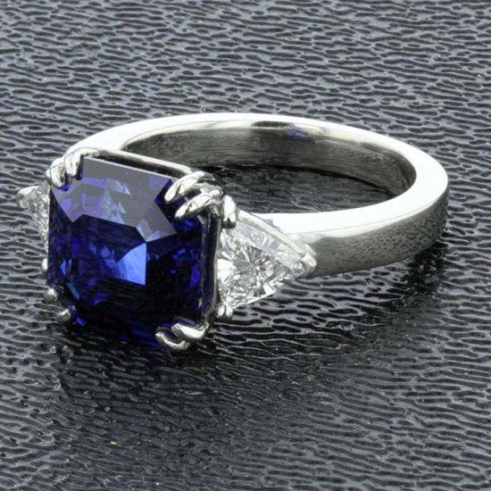 Asscher Cut Sapphire And Diamond Solitaire Ring 3