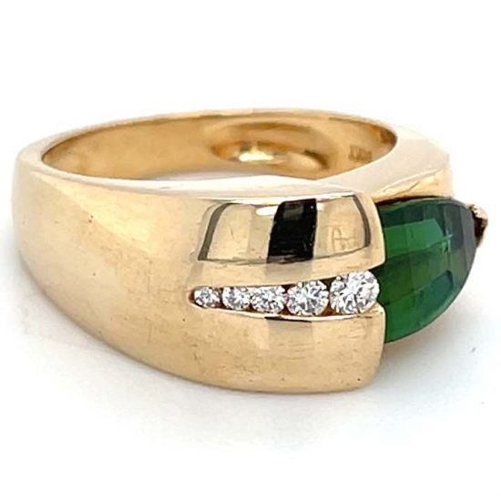 Green Chrome Tourmaline And Diamond Ring 5
