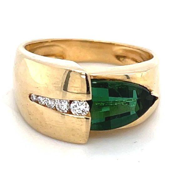 Green Chrome Tourmaline And Diamond Ring 2