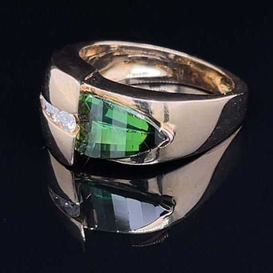 Green Chrome Tourmaline and Diamond Ring 3