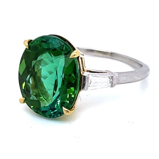 Green Tourmaline And Diamond Solitaire Ring 6