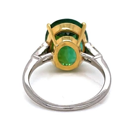 Green Tourmaline And Diamond Solitaire Ring 5