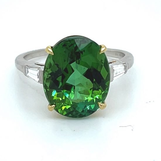 Green Tourmaline And Diamond Solitaire Ring 4