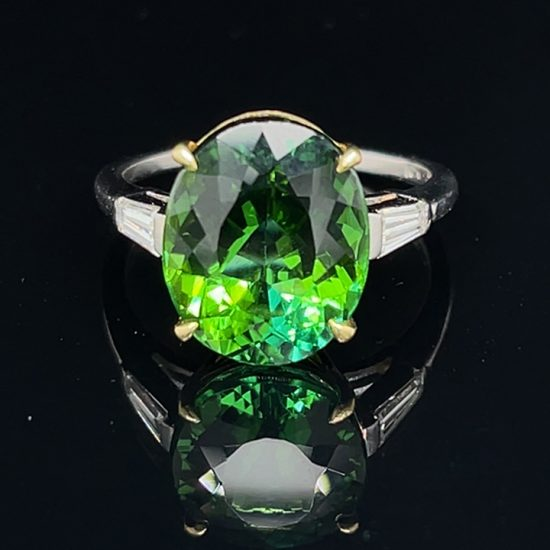 Green Tourmaline And Diamond Solitaire Ring 1