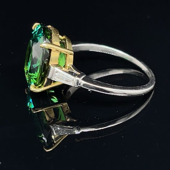 Green Tourmaline And Diamond Solitaire Ring 3
