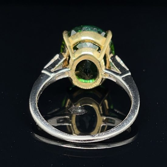 Green Tourmaline And Diamond Solitaire Ring 2