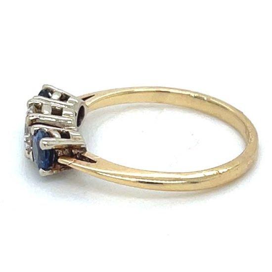 Sapphire And Diamond 3 Stone Ring 5