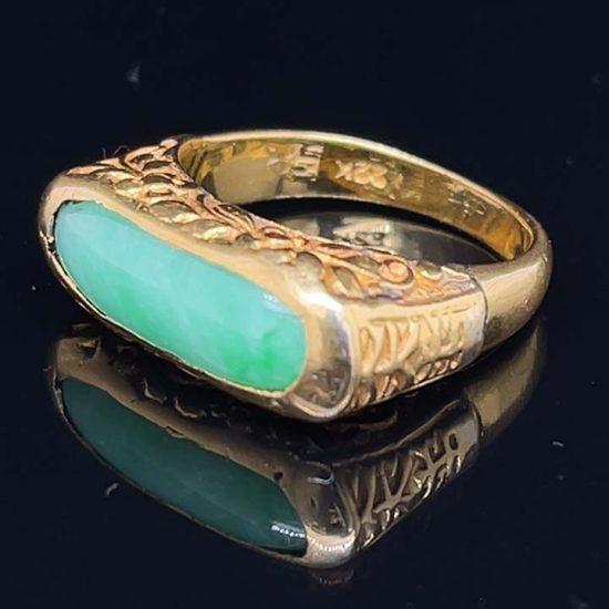 Jade Saddle Ring In 22 Kt Gold 4